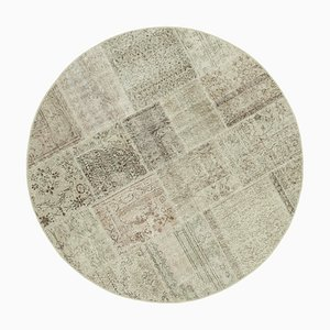 Beige Oriental Low Pile Hand Knotted Round Patchwork Carpet