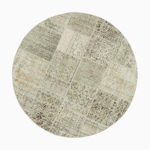 Vintage Beige Oriental Hand Knotted Round Patchwork Carpet