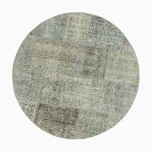 Grey Turkish Antique Handmade Round Patchwork Carpet