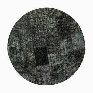 Black Turkish Decorative Handmade Round Patchwork Carpet