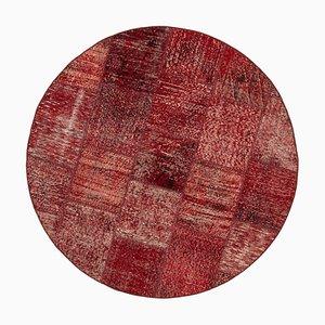Red Turkish Traditional Handmade Round Patchwork Carpet