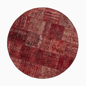 Red Anatolian  Antique Hand Knotted Round Patchwork Carpet