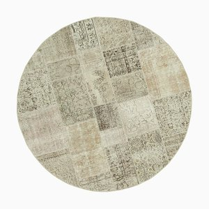 Beige Anatolian Wool Hand Knotted Round Patchwork Carpet