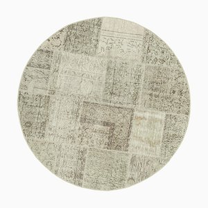 Beige Anatolian Low Pile Hand Knotted Round Patchwork Carpet