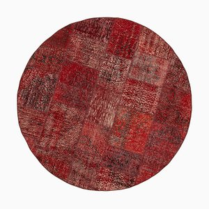 Red Anatolian Decorative Hand Knotted Round Patchwork Carpet