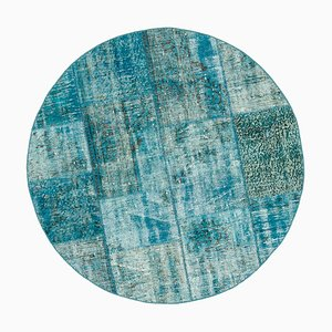 Turquoise Anatolian Traditional Hand Knotted Round Patchwork Carpet