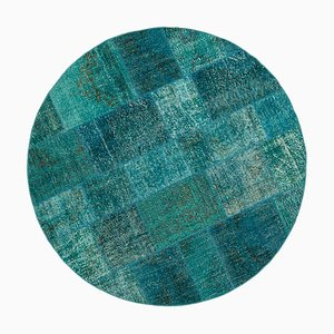 Vintage Turquoise Oriental Hand Knotted Round Patchwork Carpet
