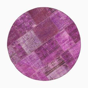 Vintage Turkish Purple Handmade Round Patchwork Carpet