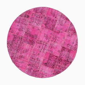 Rosa Türkischer Traditioneller Handgemachter Runder Patchwork Teppich