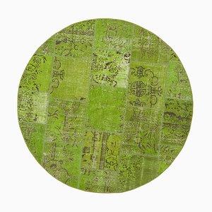Handgeknüpfter runder anatolischer Strick Teppich aus Wolle