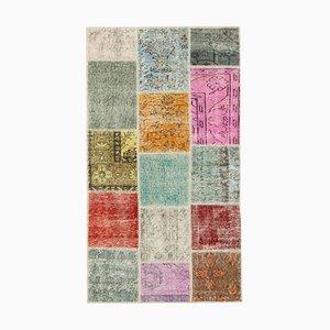 Multicolor Turkish Antique Handmade Runner Patchwork Carpet