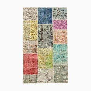 Antiker Handgeknüpfter Morgen Patchwork Teppich in Anatolienblau