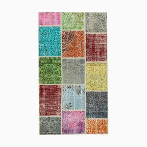 Multicolor Anatolian Wool Hand Knotted Runner Patchwork Carpet