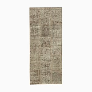 Brown Anatolian Low Pile Hand Knotted Runner Patchwork Carpet