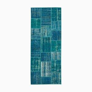 Tapis Décoratif Anatolien Turquoise Tissé Runner Patchwork