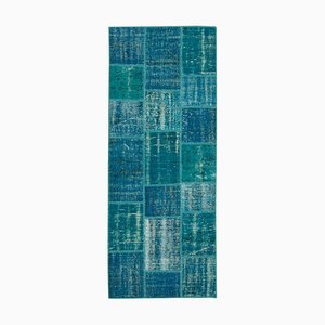 Turquoise Anatolian Decorative Hand Knotted Runner Patchwork Carpet