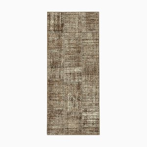Vintage AnatolianBrown Hand Knotted Runner Patchwork Carpet