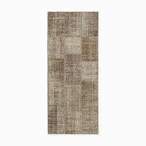 Brauner Anatolischer Handgeknüpfter Traditioneller Läufer Patchwork Teppich