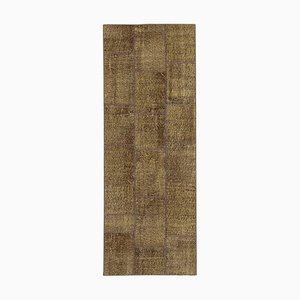 Brown Oriental Wool Hand Knotted Runner Patchwork Carpet