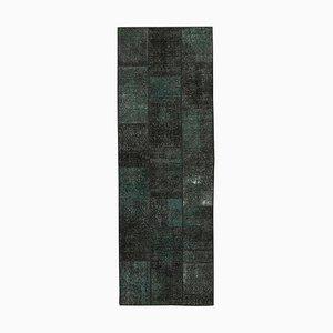 Black Turkish Decorative Handmade Runner Patchwork Carpet