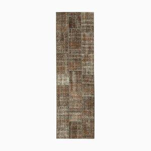 Vintage Turkish Brown Handmade Runner Patchwork Carpet