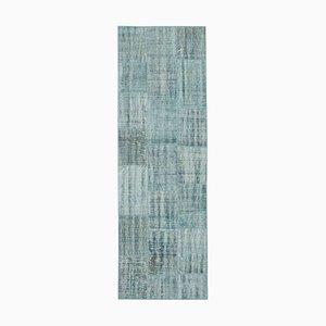 Blauer Anatolischer Handgeknüpfter Läufer Patchwork Teppich aus Wolle