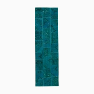 Turquoise Anatolian Low Pile Hand Knotted Runner Patchwork Carpet
