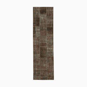 Brauner anatolischer dekorativer handgewebter Läufer Patchwork Teppich