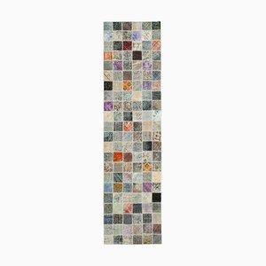Alfombra anatolia tradicional de patchwork vintage tejida a mano