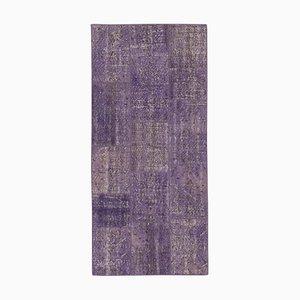 Vintage Purple Oriental Hand Knotted Runner Patchwork Carpet