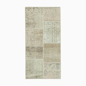 Beige Anatolian Decorative Hand Knotted Runner Patchwork Carpet