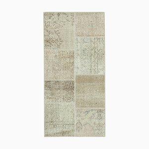 Handgeknüpfter anatolischer antiker Läufer-Patchwork Teppich in Beige