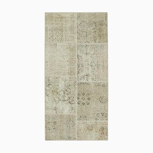 Beige Anatolian Traditional Hand Knotted Runner Patchwork Carpet