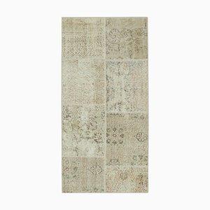 Beige Anatolischer Handgeknüpfter Traditioneller Läufer Patchwork Teppich