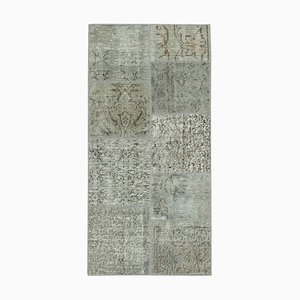 Grey Turkish Antique Handmade Runner Patchwork Carpet