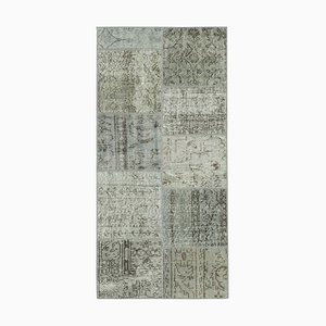 Grauer Handgewebter Patchworkteppich aus anatolischer Wolle