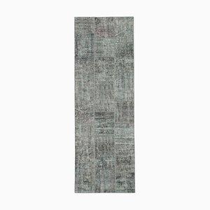 Grauer Anatolischer Niedriger Floraler Handgeknüpfter Läufer Teppich