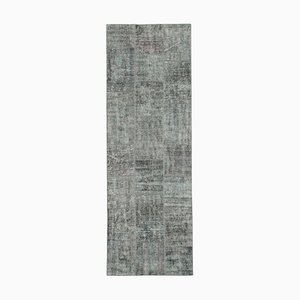 Grey Anatolian Low Pile Hand Knotted Runner Patchwork Carpet