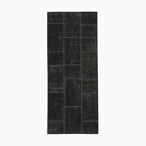 Black Anatolian Decorative Hand Knotted Runner Patchwork Carpet