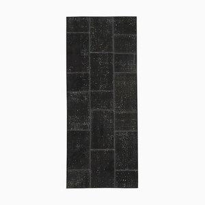Schwarzer Anatolischer Handgewebter Läufer Patchwork Teppich