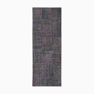 Grauer Anatolischer Handgeknüpfter Traditioneller Läufer Patchwork Teppich