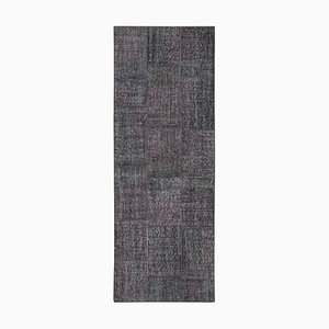 Grey Anatolian Traditional Hand Knotted Runner Patchwork Carpet