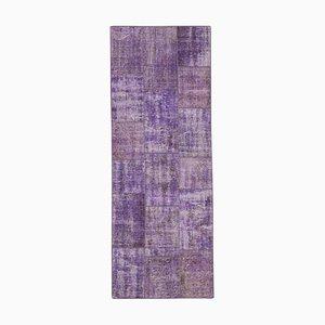Purple Oriental Antique Hand Knotted Runner Patchwork Carpet