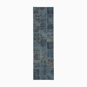 Blue Turkish Low Pile Handmade Runner Patchwork Carpet