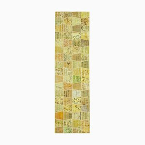 Yellow Anatolian Decorative Hand Knotted Runner Patchwork Carpet