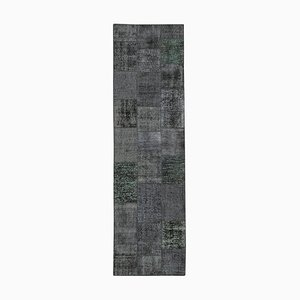 Vintage AnatolianBlack Hand Knotted Runner Patchwork Carpet