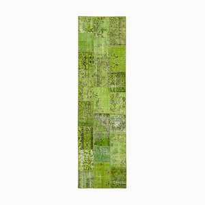 Green Anatolian Traditional Hand Knotted Runner Patchwork Carpet