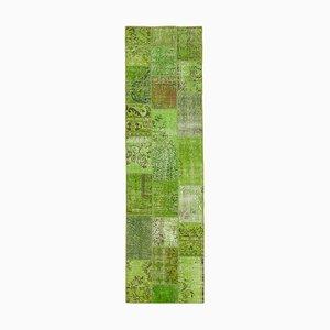 Green Turkish Decorative Handmade Runner Patchwork Carpet