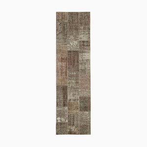 Brown Anatolian Antique Hand Knotted Runner Patchwork Carpet