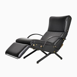 P40 Lounge Chair in Black Leather by Osvaldo Borsani for Tecno, 1960s